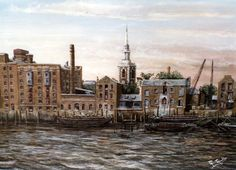 Thames Tunnel Mills and St Marys Church Rotherhithe.