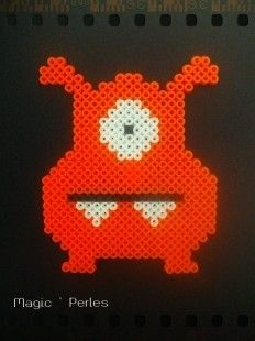 Monster hama beads orange fluo