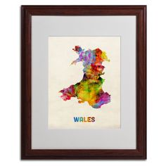 Wales Watercolor Map by Michael Tompsett Matted Framed Painting Print