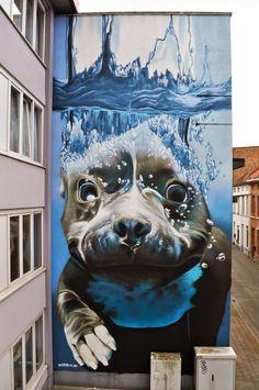 iluze, street art a graffiti 3d Street Art, Best Street Art, Murals Street Art, Amazing Street Art, Street Art Graffiti, Street Artists, Amazing Art, Graffiti Wall, Amazing Photos
