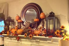 48 Lovely Fall Mantel Ideas For Living Room Décor – Halloween Fall Mantel Decorations, Thanksgiving Decorations, Mantel Ideas, Mantles Decor, Disney Thanksgiving, Thanksgiving Projects, Hosting Thanksgiving, Vintage Thanksgiving, Thanksgiving Tablescapes