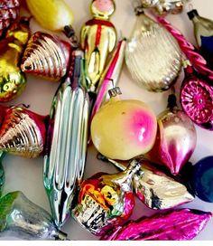 Vintage Christmas Ornaments Glass Baubles