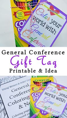 Grab this General Conference tag and pair it with a box of colored pencils and coloring book for the perfect visitng teaching, primary, or young women gift. General Conference Activities For Kids, Primary Activities, Church Activities, Indoor Activities, Family Activities, Young Women Lessons, Young Women Activities, Summer Activities For Kids, Activity Day Girls
