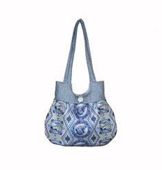 Sweet Pea Tote Purse Handbag Blue and Gray Print by craftcrazy4u, $37.00