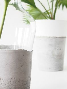 DIY Concrete Glass Vases. great idea and GREAT blog-right up my modern/euro alley.
