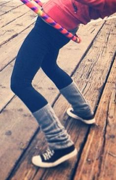 Leggings, leg warmers and converse. Awesome...