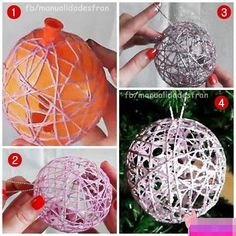 Cool DIY ornament! Use sparkle baby wool and put over string lights to reflect different colours inside.