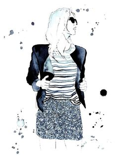 Fashion Illustration Watercolor Painting Print by KelseyMDesigns