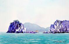 오륙도와 이기대 53.0 x 40.9cm watercolor dn ppaper watercolor by Jung in sung