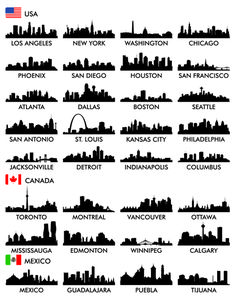 Big cities silhouette set vector 02