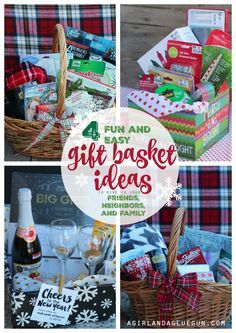 4 fun and easy gift basket ideas to give to your friends, neighbors and family --all from big lots. a girl and a glue gun