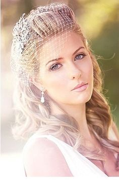 hairstyle inspiration, love the birdcage and rhinestone hairpiece