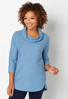 997cbafdd9b2 Relaxed Restyled Textured Cowl Neck Curved Hem Top 4021-BLUE SHADOW Cowl  Neck