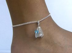 Sea glass and mermaid anklet Authentic white sea glass with a pretty silver plated mermaid and a aqua crystal on a inch silver plated anklet. Authentic white sea glass with a pretty silver plated mermaid and a aqua crystal on a inch silver plated anklet. Sterling Silver Anklet, Silver Anklets, Ankle Chain, Mermaid Necklace, Sea Glass Jewelry, Pearl Bracelet, Arrow Necklace, Jewelery, Jewelry Making