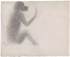 George Seurat   Seated Monkey (Singe assis), 1884. Conté crayon on paper, 6 3/4 x 8 3/8 inches