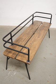 Great industrial bench for outside seating! Panka - Indoor/ outdoor bench Panka is a handmade, made to order bench , built with reclaimed wood and recycled steel pipes, hand bent with oxygen/acetylene torches. Vintage Industrial Furniture, Industrial House, Industrial Interiors, Wood Furniture, Furniture Design, Industrial Bench, Industrial Design, Industrial Shelving, Industrial Lighting