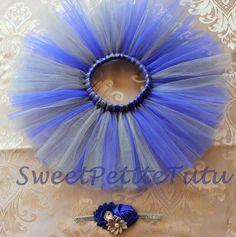 Blue and silver tutu headband included Royal by SweetPetiteTutu
