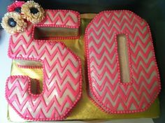 A 50th birthday cake idea that features a chevron print 5-0 for a woman.  See more 50th birthday cakes and party ideas at www.one-stop-party-ideas.com