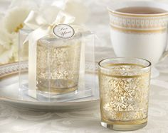 """Golden Renaissance"" Glass Votive Tea Light Candle Holder Favor (Set of 4)"