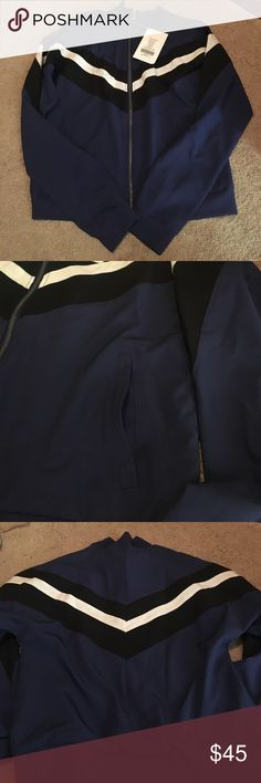 Workout Jacket Fabletics lightweight athletic jacket. Navy Blue with Black and White Stripping. Ribbed collar and bands. Semi-Cropped Length. Welt Pockets. Tags still attached. Fabletics Jackets & Coats