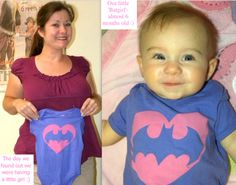 My own Bat Baby modeling the girly Batman onesie we bought the day we found out we were having a girl. :)