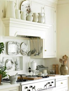 white kitchen~Ironstone and brown and white transferware~Available at American Home & Garden in Ventura CA