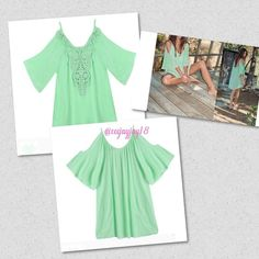 Mint green cold shoulder dress/tunic Embroidered front with thin straps and cold should sleeves! Super adorable dress for summer time. Measurements in comments below! Dresses