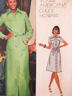Vintage Vogue 1072 Sewing Pattern, Chuck Howard Design, 1970s Dress Pattern, Shirt Dress, Bust 34, 1970s Sewing Pattern, Vogue Americana by sewbettyanddot on Etsy
