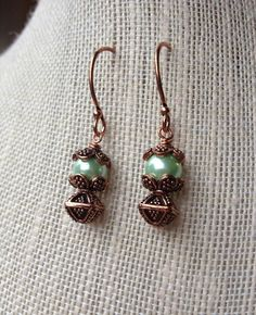 Bright Copper Wide Hoop Earrings With Mint by McHughCreations, $13.95