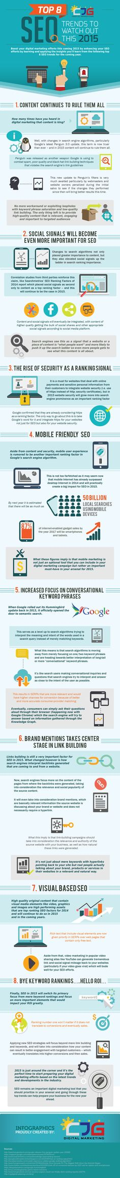 Fresh infographic from our blog! Top 8 SEO Trends to Watch Out this 2015. #seo2015 #seofor2015
