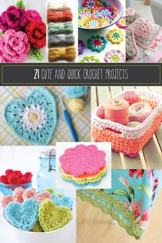 21 Cute and Quick Crochet Projects. (I love those baskets!) 21 Cute and Quick Crochet Projects. (I love those baskets! Easy Crochet Projects, Knitting Projects, Knitting Patterns, Crochet Patterns, Crochet Ideas, Blanket Patterns, Mode Crochet, Crochet Yarn, Crochet Flowers