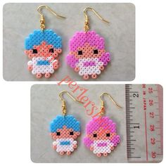 Little Twin Stars earrings hama perler beads by pare_perlershop