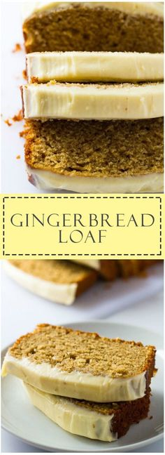 Gingerbread Loaf - Deliciously moist gingerbread spiced loaf cake topped with thick cream cheese frosting! Fall Cake Recipes, Loaf Recipes, Quick Bread Recipes, Baking Recipes, Snack Recipes, Dessert Recipes, Snacks, Breakfast Recipes, Healthy Recipes