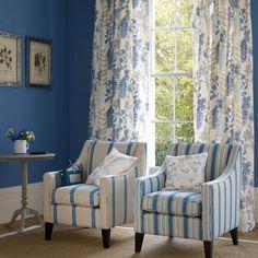 Jane Churchill's Caprice (drapes), Brownlow Stripe (chair), Larkin (pillow), Deverell Stripe (chair), Vita (pillow) #interiors #janechurchill #textiles