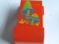 MID CENTURY VTG WALL HUNG PLASTIC MATCHBOX HOLDER Orange Mushrooms Matches in Collectibles, Tobacciana, Match Holders   eBay