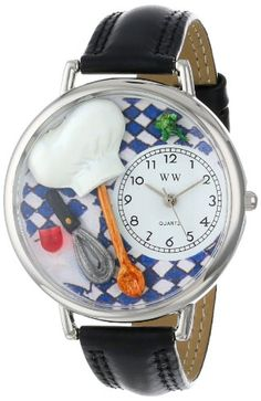 Whimsical Watches Unisex U0310002 Chef Black Skin Leather Watch - http://www.artistic-watches.com/2015/03/04/whimsical-watches-unisex-u0310002-chef-black-skin-leather-watch/