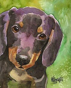 Dachshund Dog signed art PRINT from painting RJK