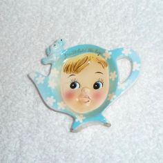 Vintage Napco Miss Cutie Pie Tea Bag Holder Blue 1950s Girl Cute Dish by crazy4me on Etsy https://www.etsy.com/listing/500535885/vintage-napco-miss-cutie-pie-tea-bag