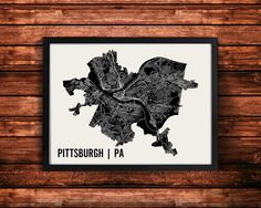 Pittsburgh Pennsylvania map art print by Mr. City Printing. Thousands of line segments were superimposed over a silhouette of Pittsburghs city limits to create this design. The streets within the city are scaled differently to represent their size. A unique modern piece that we hope any traveler or resident of Pittsburgh will love. Each print is signed on the back. Frame not included, please message us for a framing quote.  • 50+ Cities available: https://www.etsy.com/shop&#x2F...