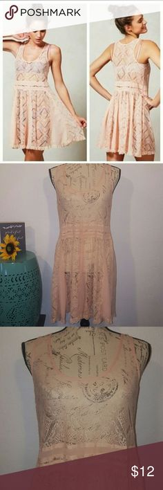 Lace pull over dress E by Eloise Anthropology Peach lace dress, great layering piece.  Size medium E by Eloise Dresses Mini