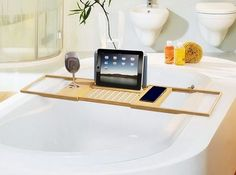Bamboo Bathtub Caddy Wood Tray Extending Sides Tub Table Shelf Tablet Book Wine  #BathDreams