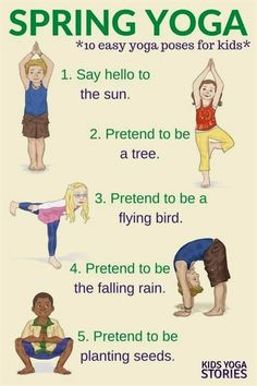Yoga for spring - What better way to celebrate spring than through simple yoga poses for children. Be a bird, bee, and butterfly!  #YogaPoses