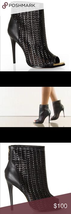 """Schutz Clorinda Black Booties This striking ankle bootie features an airy black leather upper with gold metallic toe box. Heels measure about 4.5"""".  A cool take to the classic open toe bootie.  This can be style with just about anything. Schutz Shoes Ankle Boots & Booties"""