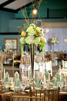 Tall wedding centerpiece /// Photo by Langdon Photography via Project Wedding