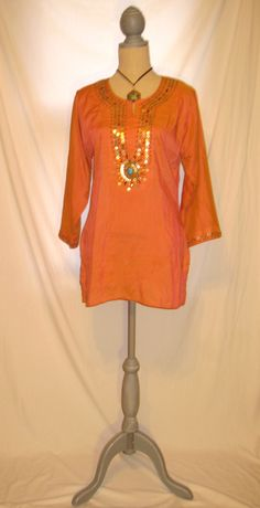 Upcycled orange color Indian bohemian style women's blouse tunic