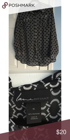 Long Sleeve Patterned Lane Bryant Button Down Super cute black and white pattern button down. Never worn. Size 16 plus Lane Bryant Tops Button Down Shirts