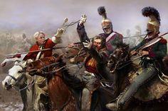 Morte del generale Ponsonby a Waterloo colpito da un lanciere francese del 4 rgt. t