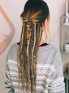 Hair Wrap Discover Synthetic Dreads Double Ended Mix Dreadlocks and Braids Natural brown to Natural blond with Accesso Dreads Styles, Curly Hair Styles, Dreadlock Hairstyles, Braided Hairstyles, Wedding Hairstyles, Updo Hairstyle, Dread Braids, Hippie Braids, Braids Easy