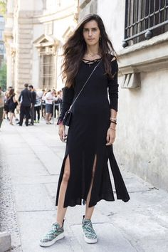 Chiara Totire looking sexy in a slit front dress. Milan #MMFW