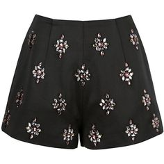 Keepsake City Heat Embellished Shorts ($76) ❤ liked on Polyvore featuring shorts, bottoms, black, highwaist shorts, high waisted shorts, high-rise shorts, high-waisted shorts and party shorts